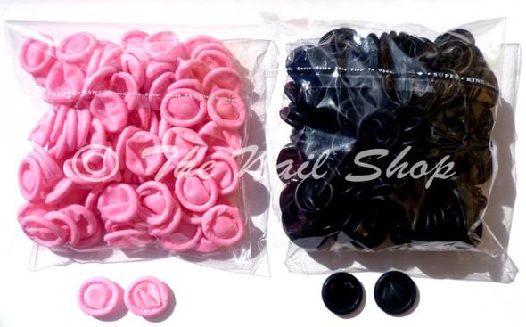 Pink & Black Latex Finger Cots (Finger Protection)