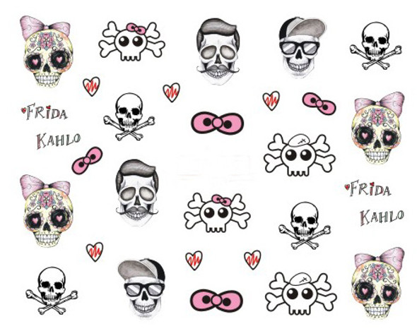 Sugar Skulls, Fashion Skulls with Moustaches, Hair & Sunglasses! Nail Water Decals for Halloween