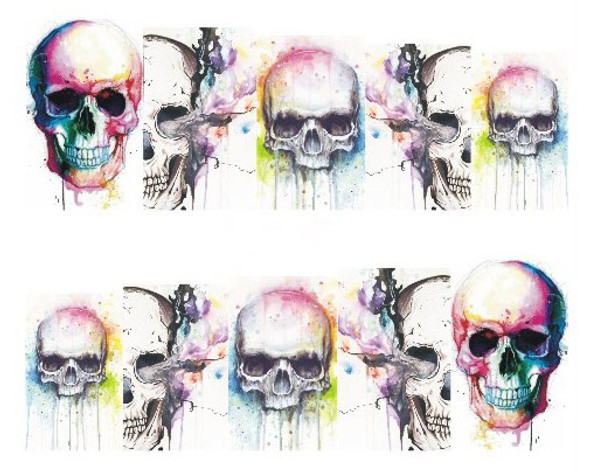 White Watercolour Skulls for Nail Art (Water Decals) - Great for Halloween Nail Art!