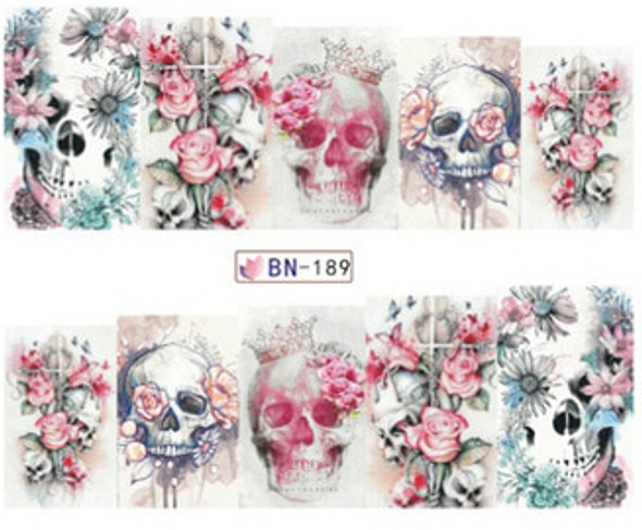 White Floral Skulls for Day of the Dead Nail Art (Water Decals) - Great for Halloween!