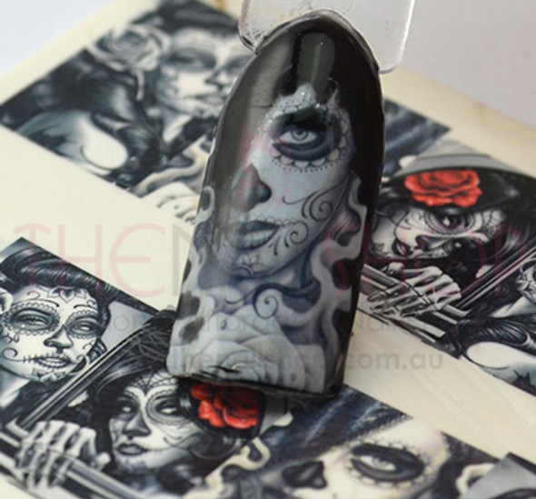 Spanish Woman 'Day of The Dead' for Nail Art (Water Decals)