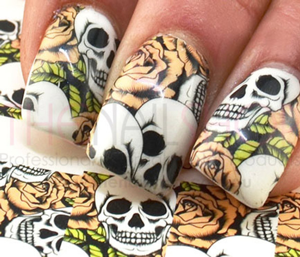 Full Cover Skulls & Roses Nail Art (Water Decals) - Great for Halloween!