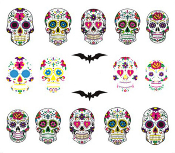 'Day of The Dead' Sugar Skulls for Nail Art (Water Decals)