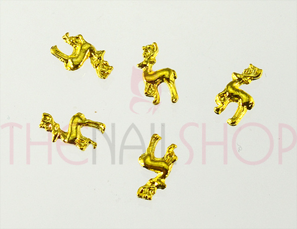 NEW Christmas Nail Art Charms - Gold Reindeers (5PCS)