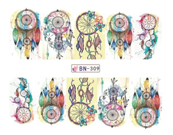Watercolour Style Dream Catcher Nail Art Decals (Design #2)