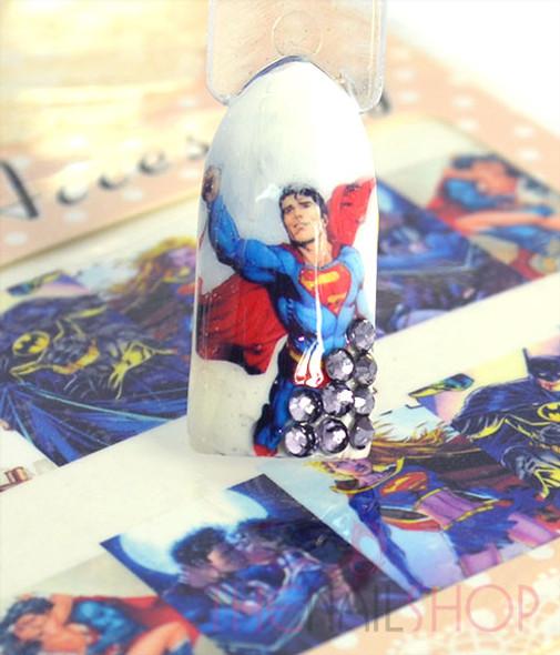 Example of Use. Superman Nail Decals.