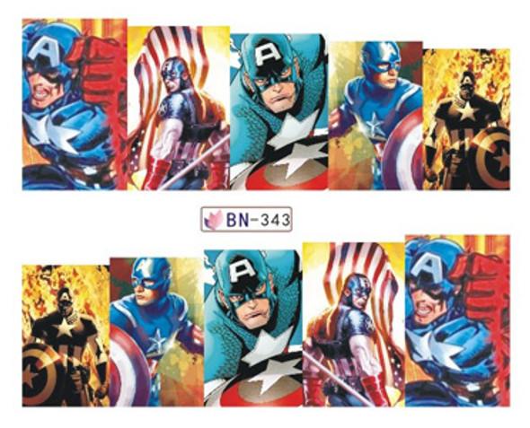 Comic Strip Nail Art (Water Decals) - Marvel Comics Captain America!