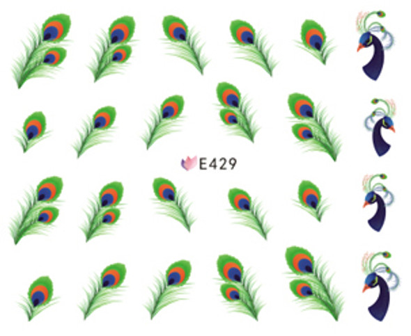 Brightly Coloured Peacock Feather Nail Stickers (Peel & Stick)