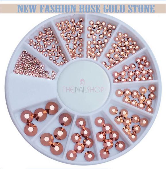 Rose Gold Metallic Flatback Rhinestone Wheel - 240PCS (12 Sizes: 1mm-5mm)