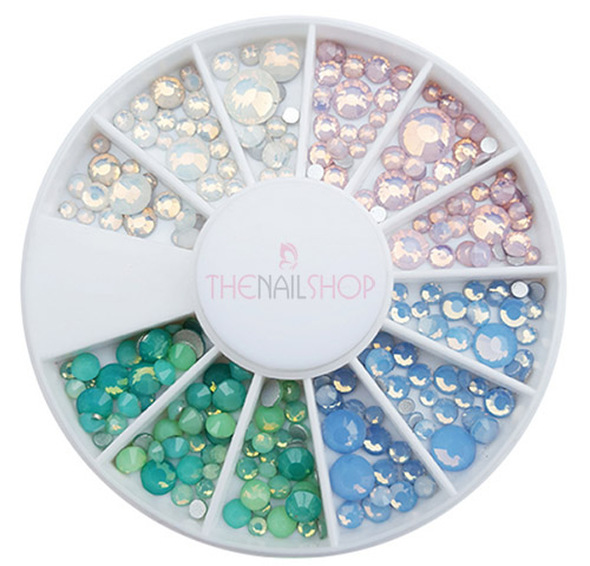 Opal Mixed Colour Flatback Rhinestone Wheel - 144PCS (1mm-5mm)