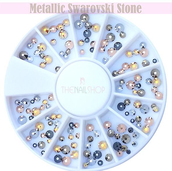 Metallic Swarovski Mix Flatback Rhinestone Wheel - 120PCS (1.8mm-4mm)