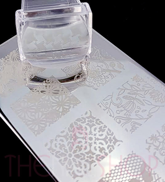 Clear Rectangular Stamper Ideal for Pamper Plate Designs