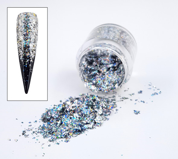 Silver Holographic Chrome Nail Art Flakes