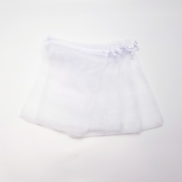 WHITE ORGANZA GIFT BAGS - PACK OF 5