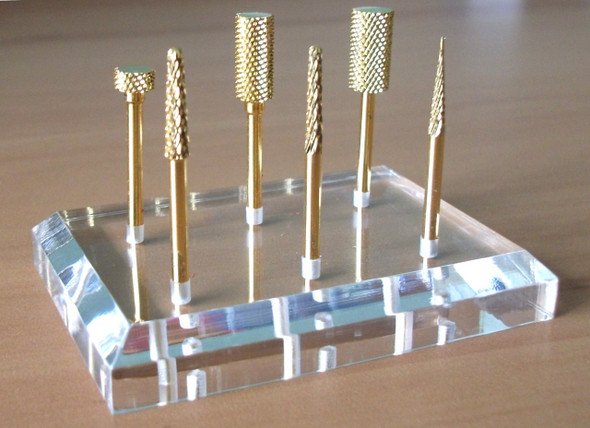 Clear Nail Drill Bit Display Stand - Holds 6 Bits!