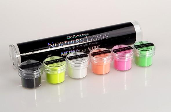 OTD Holographic Acrylic Nail Powders. Neons at Nite. Neon Acrylic Nail Powder.