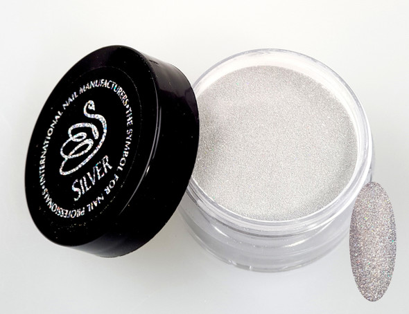 INM NORTHERN LIGHTS HOLOGRAPHIC SILVER GLITTER ACRYLIC POWDER