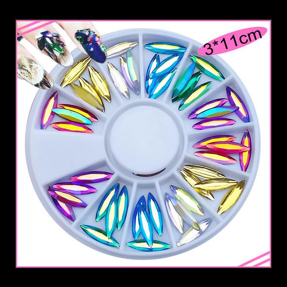 Coloured Long Navette Crystal Rhinestones Flatback Nail Art Wheel (60PCS)