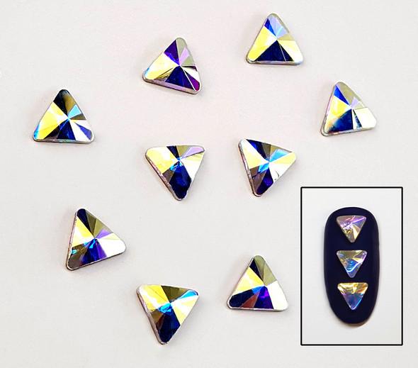 Large Clear AB Glass Triangle Flat Back Rhinestones for Nail Art (10PCS Per Bag)