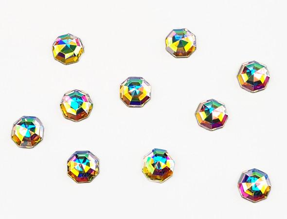 Large Clear AB Glass Round Flat Back Rhinestones for Nail Art (10PCS Per Bag) - 6mm X 6mm