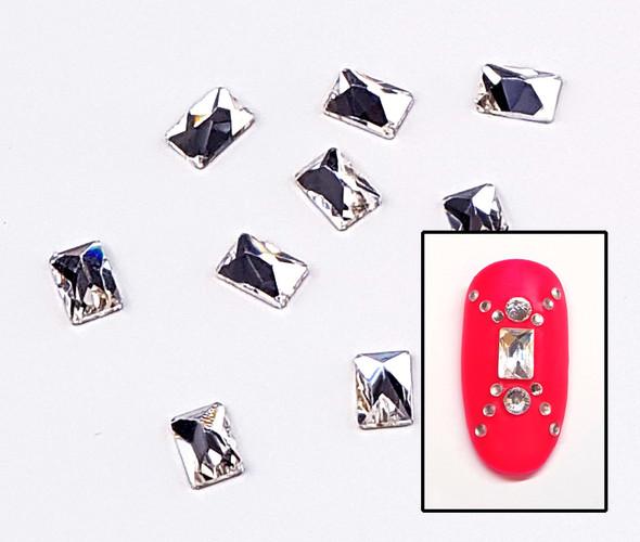 Large Clear Glass Rectangle Flat Back Rhinestones for Nail Art (10PCS Per Bag) - 4mm X 6mm