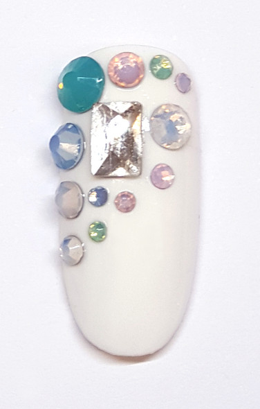 Large Clear Glass Rectangle Flat Back Rhinestones for Nail Art - Example of Use