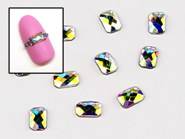 Large Clear AB Glass Rounded Rectangle Flat Back Rhinestones for Nail Art (10PCS Per Bag) - 4mm X 6mm