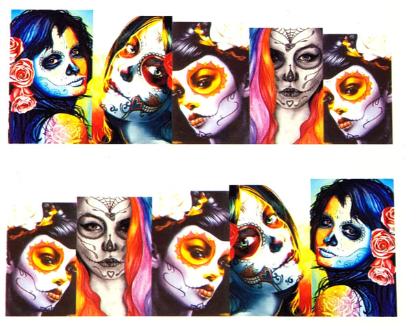 Elegant Woman Skulls in Colour 'Day of The Dead' for Nail Art (Water Decals)