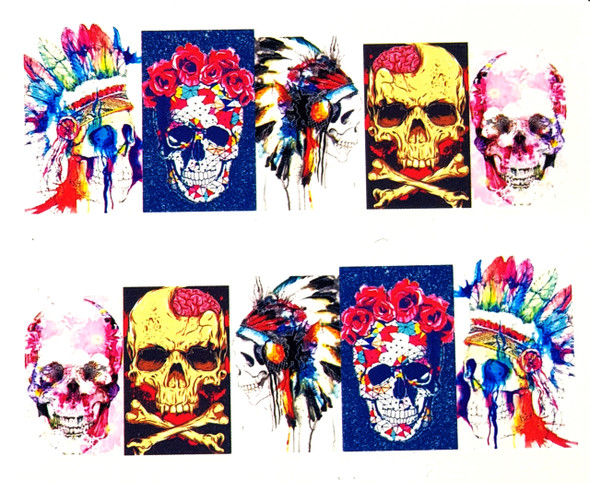Water Colour Indian Feather & Floral Skulls for Day of the Dead Nail Art (Water Decals) - Great for Halloween!