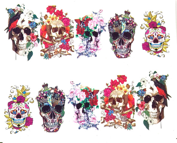 Floral Sugar Skulls for Day of the Dead Nail Art (Water Decals) - Great for Halloween!