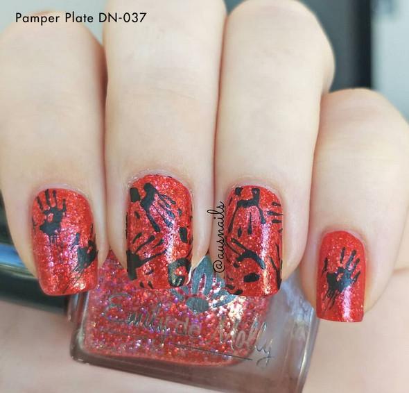 Halloween Nails. Pamper Plates Professional Nail Stamping Plates - Design #37 (Halloween, Spider Webs, Ghosts, Pumpkins)