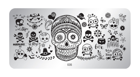 Pamper Plates Professional Nail Stamping Plates - Design #35 (Sugar Skull Halloween)