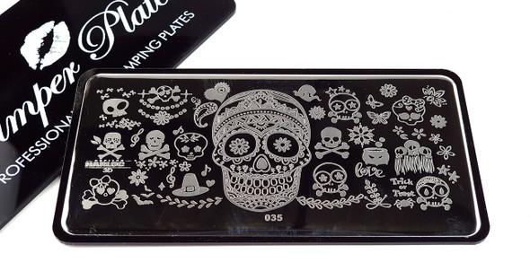 Best Sugar Skull Halloween Stamping Plate for Nail Art. Pamper Plates at The Nail Shop Australia.