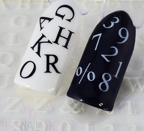 Black Capital Letters Text & Numbers Nail Art Stickers (Black or White). Create  Ouija Board Nails for Halloween! Complete Alphabet!