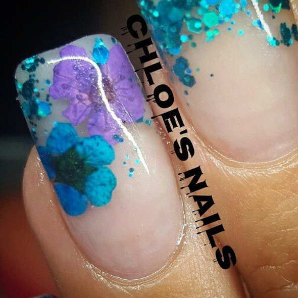 Blue & Purple Dried Flowers. By Chloe's Nails Mount Isa.