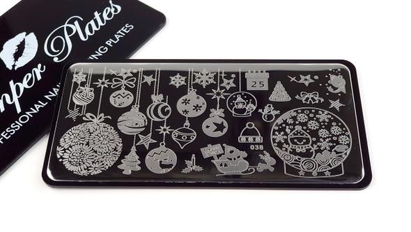 Stamping Plate. Christmas Baubels, Stars, Calendar, Trees, Snowman, Holly, Santa Sleigh, Snow & More!