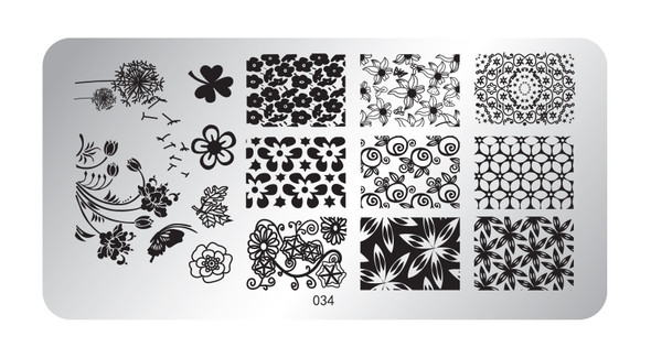 Pamper Plates Professional Nail Stamping Plates - Design #34 (Flowers, Tulips, Dandelion, Clover)