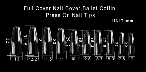 Coffin/Ballet Nail Tips Clear