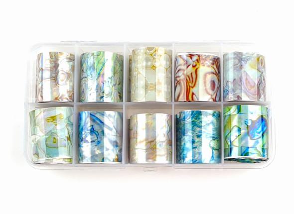 Ocean Paua Shell Pearl Effect Nail Art Transfer Foil Set