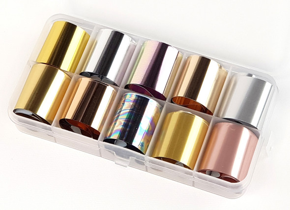 Metal Effect Nail Art Transfer Foil Set (10 Designs Per Box) - Gold, Silver, Rose Gold, Matte & Gloss!