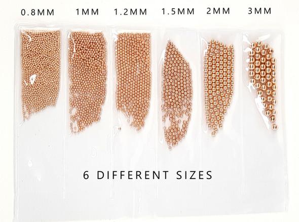 Rose Gold Nail Caviar Metal Bullion Beads (6 Sizes)