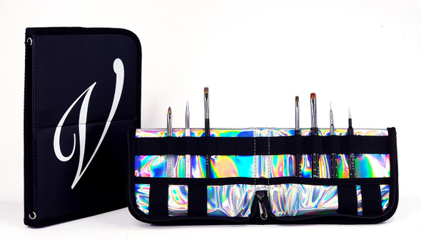 En Vogue Professional Nail Gel Brush Kit + Wallet (Black & Holographic)