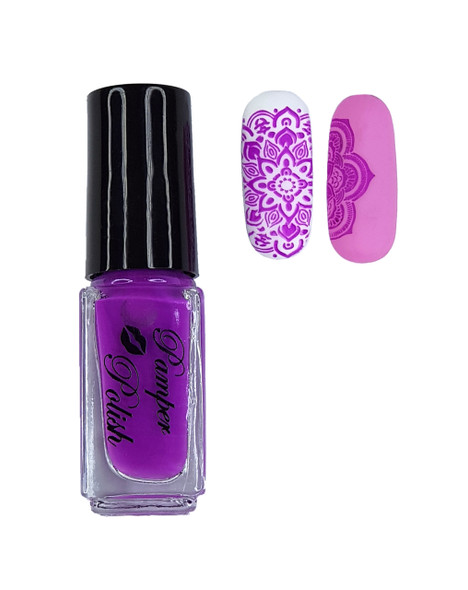 Pamper Polish Nail Stamping Plate Polish Mini 5ml - Magenta Purple