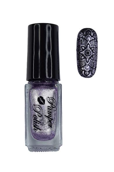 Pamper Polish Nail Stamping Plate Polish Mini 5ml - Metallic Lilac Purple