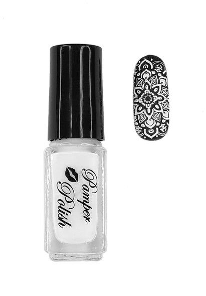 Pamper Polish Nail Stamping Plate Polish Mini 5ml - White (Solid/Opaque)