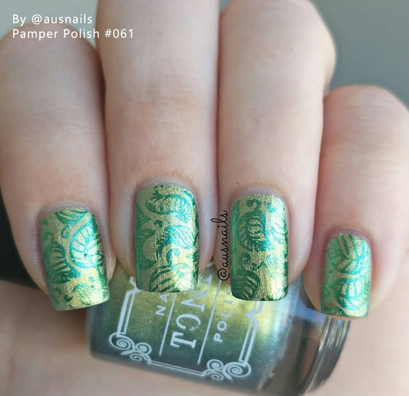 Example of Pamper Polish Nail Stamping Plate Polish Mini 5ml - METALLIC GREEN