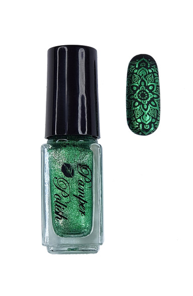 Pamper Polish Nail Stamping Plate Polish Mini 5ml - METALLIC GREEN