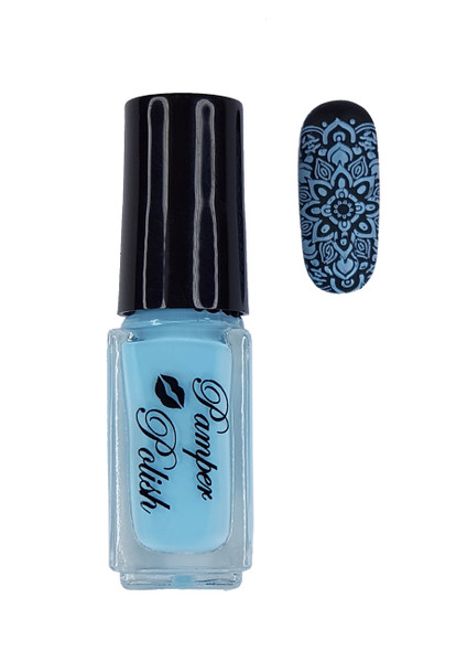 Pamper Polish Nail Stamping Plate Polish Mini 5ml - LIGHT BLUE (OPAQUE)