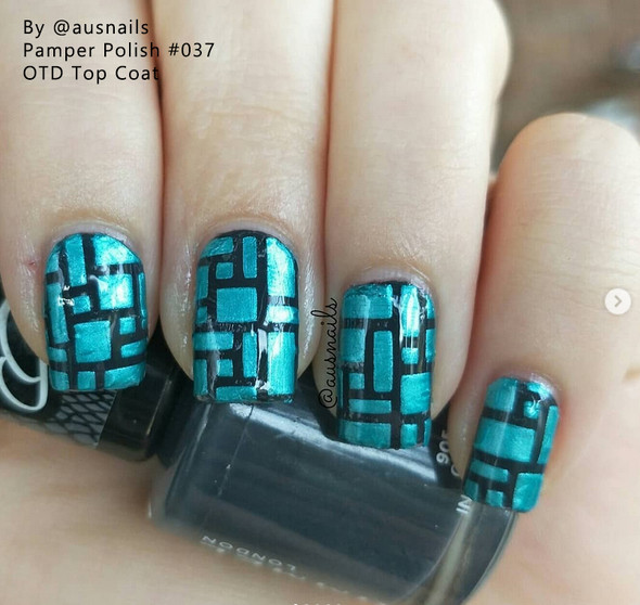 Example of Pamper Polish Nail Stamping Plate Polish Mini 5ml - AQUA PEARL