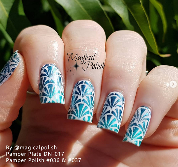 Example of Pamper Polish Nail Stamping Plate Polish Mini 5ml - METALLIC TEAL